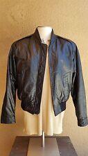 SADDLERY Cooper Collection Unisex's Solid Black Leather Bomber/Flight Jacket 38