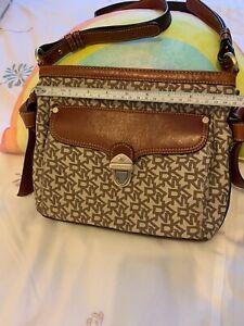 Dkny Leather/cloth Crossbody Bag