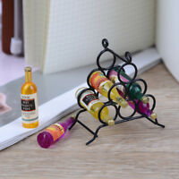 Doll House miniature furniture DIY kitchen room 1:12 & mini wine rack bottle&f