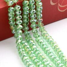 48pc Rondelle Faceted Crystal Glass Loose Spacer Colorful Beads AB Light Green