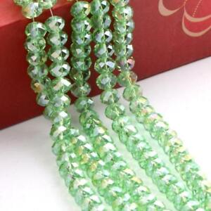35pc Rondelle Faceted Crystal Glass Loose Spacer Colorful Beads AB Light Green