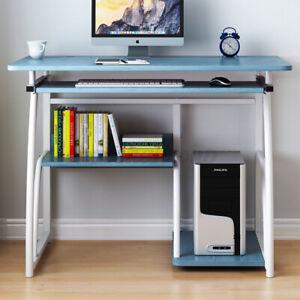 Black Computer Desk PC Laptop Table Study Workstation Wood Home Office W/Shelf