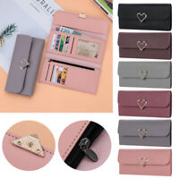 Women Heart-shaped Buckle Multi-card Wallet ID Card Holder PU Leather Purse Hot