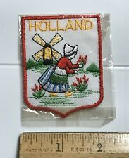 Holland The Netherlands Dutch Windmill Woman Picking Flowers Embroidered Patch