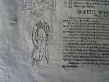 ANCIENNE PLANCHE PATRON DE LA  REVUE MODE PRATIQUE 1909 N°51