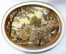 Currier Ives lithograph The Season of Blossoms oval metal tray repro