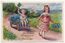 Ak Kinder mit Bollerwagen und Blumen * Geburtstag gold geprägt um 1930 ! (A458