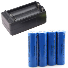 4X 18650 3.7V Li-ion Rechargeable Battery For LED Flashlight + 1X Smart Charger