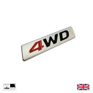4WD Silver Chrome Red 3D Sticker Boot Trunk Badge Emblem 4x4 Decal SUV Car