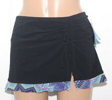NEW Profile by Gottex Black Blue Skirted Swim Bikini Bottom size 20W E6231W92