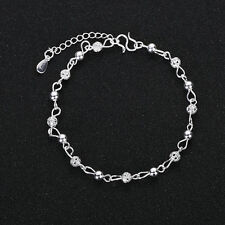 Women 925 Silver Filled Hollow Pattern Ball Chain Bangle Cuff Bracelet Jewelry