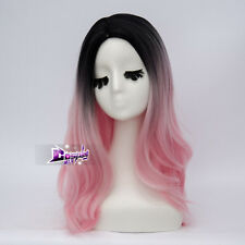 55CM Black Mix Pink Curly Long Anime Women Girls Curly Party Cosplay Full Wigs