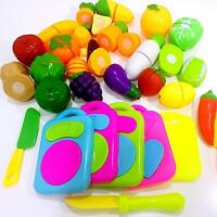 2017 Kids Pretend Role Play Kitchen Fruit Vegetable Food Toy Cutting Set Gift LD