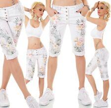 Damen Capri Jeans Shorts Boyfriend Baggy Hose Stretch Dschungel Tropical S-XL
