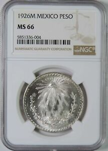 1926 M Mexico Silver 1 One Peso Coin NGC Graded MS66 GEM Uncirculated