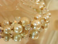 Stunning Sparkling Vintage 1950's AB Crystal Faux Pearl Beaded Necklace 316my7