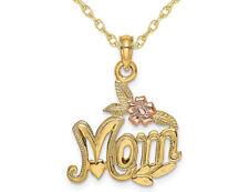 Mamá Collar Colgante en oro Amarillo de 14K con cadena