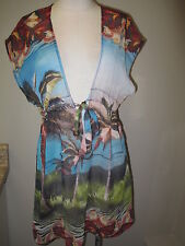Becca Beach Coverup with Front Ties Multi Color X-Small NWT