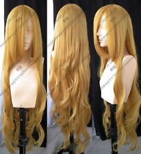 New Women Charming Long Blonde Wavy Curly Hair Cosplay Party Heat Full Wig 100CM