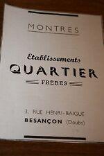 Pub Ad 1947 montre QUARTIER Besancon 25 doubs