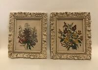 Vintage French Framed Floral Prints Gesso High Quality Fancy Antique White 9x10""