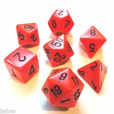 Chessex Dice Poly - Opaque Orange with Black -Set Of 7- 25403 - Free Bag!  DnD
