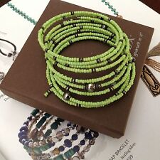 Silpada Lime Green Seed Bead .925 Sterling Silver Wrap Bracelet B1574 Retired