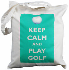 KEEP CALM AND PLAY GOLF - NATURAL COTTON SHOULDER BAG  Tote,shopper GOLFER