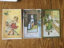 POSTCARDS UNUSED CHRISTMAS  LOT OF 3 OLDE TIME REPRODUCTION GREEN SANTA ROBE