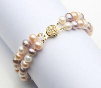 "2 rows 8-9mm multicolor south sea pearl bracelet 7.5-8"" 14K gold clasp"
