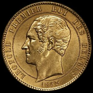 1853 Belgium 100 Francs Brabant Wedding Gold Gilt Bronze Essai Coin - GEM BU