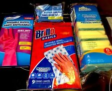 Bundle LOT of 4 (18 pieces) Reusable Heavy Duty Multi-use Gloves Wipes & Sponges