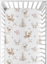 Woodland Deer Floral Boho Blush Pink Mint Green Baby Toddler Fitted Crib Sheet