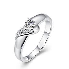 Silver Bow zircon large women wedding bridal ring diameter 18 mm size Q FR200