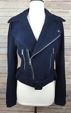 American Eagle AE Women's Moto Biker Wool Blend Jacket Coat Dark Navy Blue M