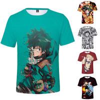 My Hero Academia T-shirt Polyester 3D Tops Tee Crew Neck Short Sleeve Summer