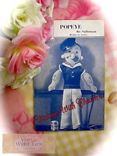 Vintage 40's Sewing Pattern For Popeye The Sailorman FREE UK P&P