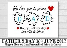 dad daddy father's day  love you to pieces personalised print gift a4 unframed