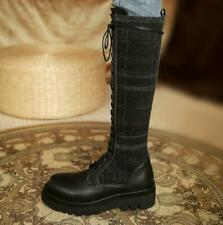 Womens Fashion Leather Checked Lace Up Knee High Combat Riding Boots Shoes SKGB