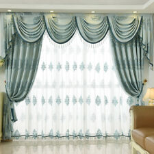 high quality European luxury embroidered blue cloth cotton curtain tulle N012