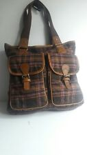 Boden Ladies Large Brown Wool Mix Leather  Retro Applique Shopper Shoulder Bag
