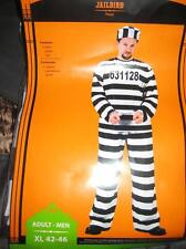 Jailbird Criminal Xl 42-46 Adult Men's Halloween Striped Costume pants shirt cap