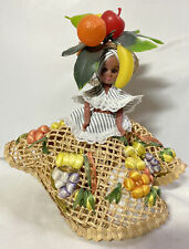 "Vintage Doll Carmen Miranda Likeness ""Chiquita Banana Lady"" Fruit Raffia Dress"