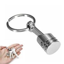 Car Parts Racing Mini Engine Piston Chrome Silver Keychain Keyring Fob Key.UK