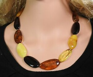 Amber Halskette Large Polished Multicolour Nuggets Natural Jewelry Handmade