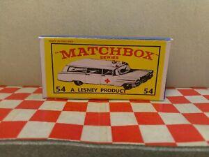 Matchbox Lesney No54 Cadillac Ambulance Empty Repro Box    NO CAR