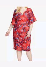 Rachel Rachel Roy Red Floral Tropical Print Dress 16W NEW