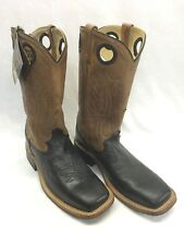 Men's Old West Boots-Black Square Toe w/Brown Shaft, Style BSM1810