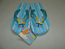 NEW Girls Sandals Shoes size 1 - 2 Care Bear Flip Flop Thong Blue Sparkle Yellow