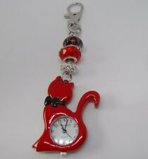 Red Cat Watch Bag Charm with Glass Paw Print Beads